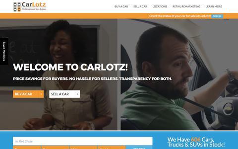 Screenshot of Home Page carlotz.com - CarLotz | Used Car Dealer in Virginia and North Carolina - captured March 19, 2017