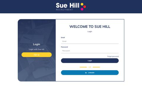 Screenshot of Login Page suehill.com - Login to your Account · Sue Hill - captured May 17, 2019