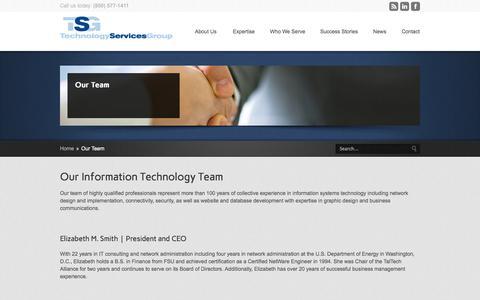 Screenshot of Team Page tsgtechs.com - TSG Techs Meet the TSG Techs Team - captured Oct. 26, 2014