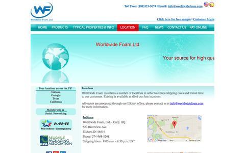 Screenshot of Locations Page worldwidefoam.com - Worldwide Foam - captured Feb. 17, 2016