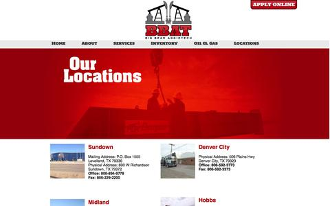 Screenshot of Locations Page aggietechoil.com - AggieTech: Pumping Unit Service, Artificial Lift - Locations - captured Oct. 4, 2014