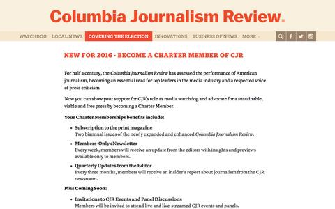 Screenshot of Signup Page cjr.org - Membership - Columbia Journalism Review - captured Nov. 9, 2016