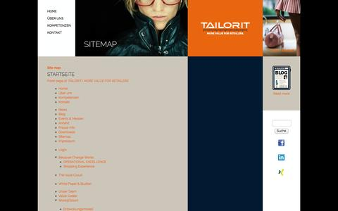 Screenshot of Site Map Page tailorit.de - Site map | TAILORIT | MORE VALUE FOR RETAILERS - captured Oct. 27, 2014