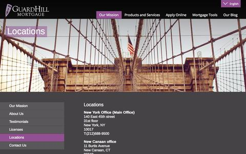 Screenshot of Locations Page guardhill.com - Guardhill Financial Corp | Manhattan Jumbo Mortgages | Financing | Loans | co-ops & condos - captured Nov. 2, 2014