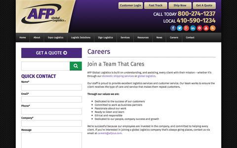 Screenshot of Jobs Page afplus.com - Careers - Work at AFP Global Logistics - captured Oct. 6, 2017