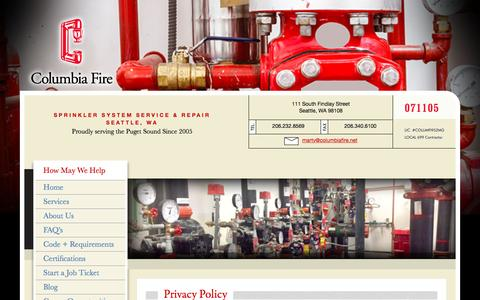 Screenshot of Privacy Page columbiafire.net - Fire Sprinkler System Service and Repair, Seattle, WA - captured Nov. 9, 2016