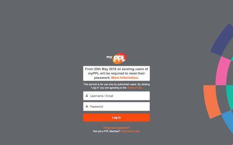 Screenshot of Login Page ppluk.com - Login - captured Sept. 22, 2018