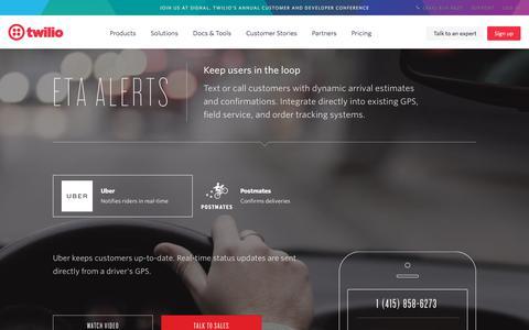 Screenshot of Case Studies Page twilio.com - Arrival Estimate Software API for SMS & Voice - captured Nov. 28, 2019