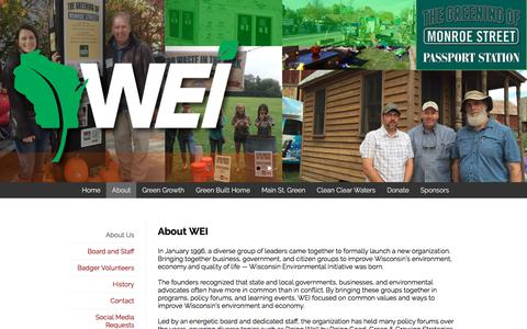 Screenshot of About Page weigogreener.org - WEI | About Us - captured Jan. 20, 2018