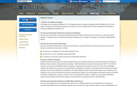Screenshot of Privacy Page blastrac.com - Privacy Policy - Blastrac, NA - captured Oct. 5, 2014