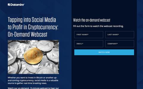 Screenshot of Landing Page dataminr.com - Tapping into Social Media to Profit in Cryptocurrency   Dataminr - captured March 27, 2018