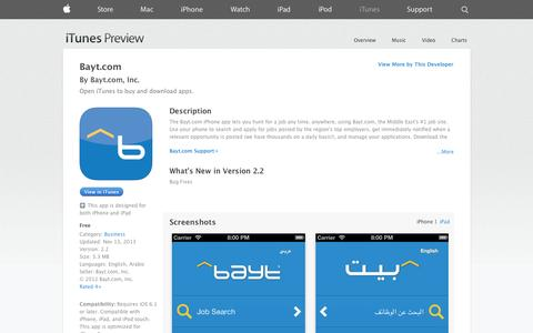 Screenshot of iOS App Page apple.com - Bayt.com on the App Store on iTunes - captured Oct. 23, 2014