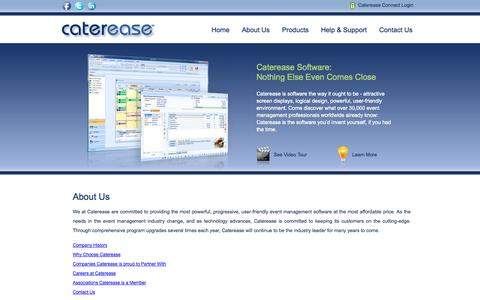 Screenshot of About Page caterease.com - Catering Software, Event Management Software for professionals - Caterease: About Us - captured Sept. 24, 2014