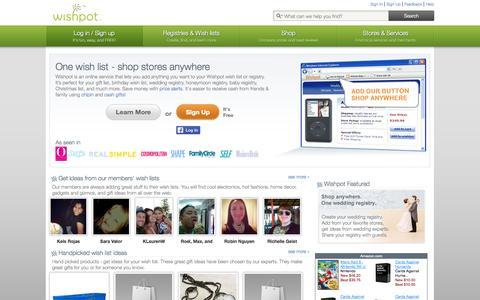 Screenshot of Home Page wishpot.com - Best free online wishlist, wedding registry, baby registry   Wishpot - captured Sept. 12, 2014