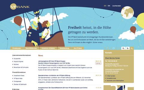 Screenshot of Home Page Site Map Page vpbank.li - VP BANK – Erstklassige Lösungen und Vermögensverwaltung. - captured Feb. 27, 2016