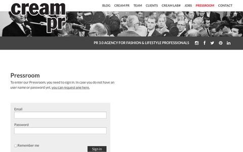 Screenshot of Press Page creampr.nl - » Pressroom - captured Sept. 30, 2014