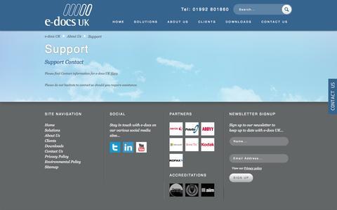 Screenshot of Support Page e-docsuk.co.uk - e-docs UK customer support   e-docs UK - captured Sept. 30, 2014