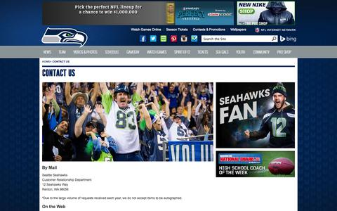 Screenshot of Contact Page seahawks.com - Contact Us - captured Sept. 18, 2014