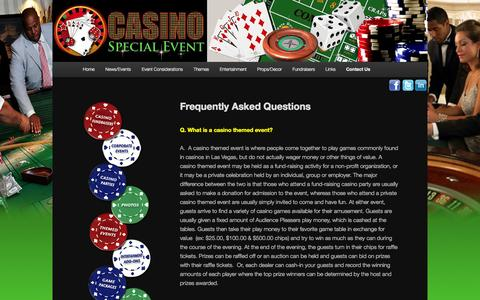 Screenshot of FAQ Page casinospecialevent.com - Frequently Asked Questions - Fundraisers - Casino Special EventCasino Special Event - captured Sept. 29, 2014