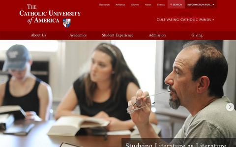 Screenshot of Home Page catholic.edu - The Catholic University of America | CUA - captured July 10, 2017