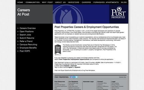 Screenshot of Jobs Page postproperties.com - Property Management Career Opportunities at Post Properties - captured July 15, 2016