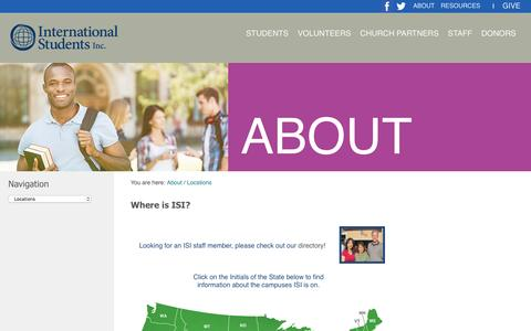 Screenshot of Locations Page isionline.org - Where is International Students - captured Feb. 11, 2016