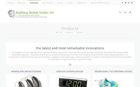 Screenshot of Products Page avchears.org - Products   Auditory Verbal Center - captured Nov. 2, 2014