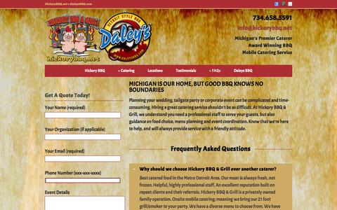 Screenshot of FAQ Page hickorybbq.net - FAQs | Hickory BBQ & Grill, Catering Service, Brighton and Howell, Michigan - captured Oct. 2, 2014