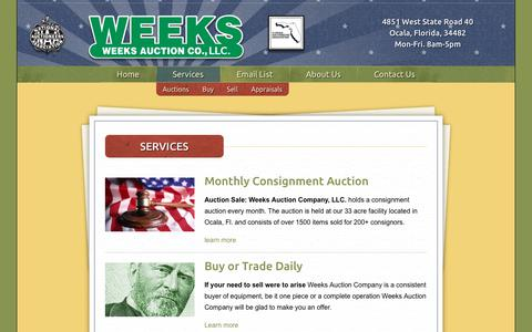 Screenshot of Services Page weeksauction.com - Services – Weeks Auction - captured July 4, 2018