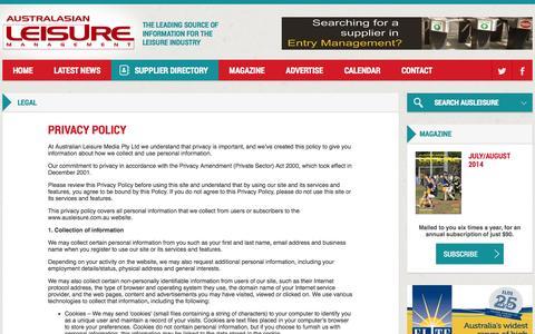 Screenshot of Privacy Page ausleisure.com.au - Legal - Australasian Leisure Management - captured Oct. 5, 2014