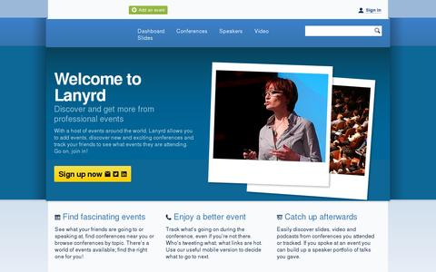 Screenshot of Home Page lanyrd.com - Lanyrd - discover thousands of conferences and professional events! - captured July 11, 2014