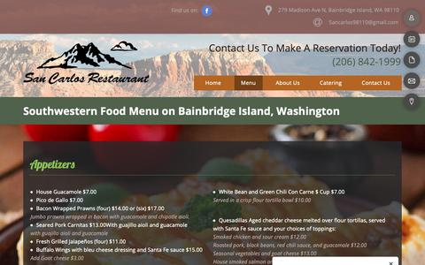 Screenshot of Menu Page sancarlosgrill.com - Mexican Food Menu - Bainbridge Island, WA - San Carlos Bar and Grill - captured Oct. 31, 2018
