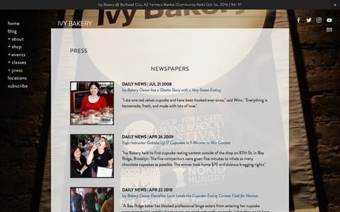 Screenshot of Press Page ivybakery.com - Media — Ivy Bakery - captured Aug. 6, 2016