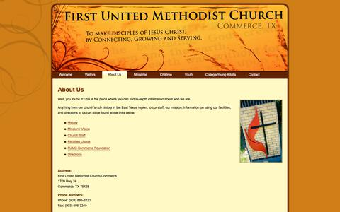 Screenshot of About Page fumccommerce.org - First United Methodist Church – Commerce, TX: About Us - captured Oct. 13, 2017