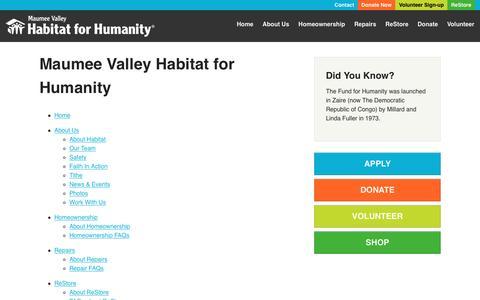 Screenshot of Site Map Page mvhabitat.org - Maumee Valley Habitat for Humanity - Maumee Valley Habitat for Humanity - captured Nov. 28, 2016