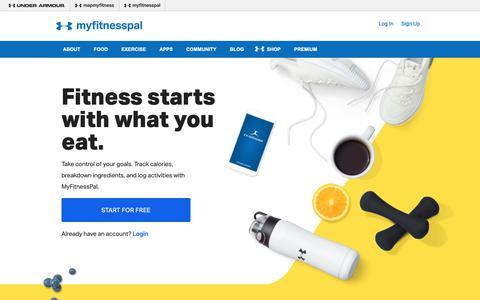 Screenshot of Home Page myfitnesspal.com - MyFitnessPal - captured Oct. 13, 2018