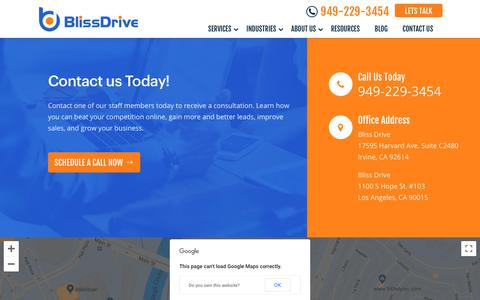 Screenshot of Contact Page blissdrive.com - Contact Us for Digital Marketing & SEO Service | Bliss Drive - captured Nov. 18, 2019