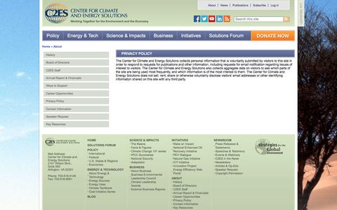 Screenshot of Privacy Page c2es.org - Privacy Policy   Center for Climate and Energy Solutions - captured Dec. 13, 2016