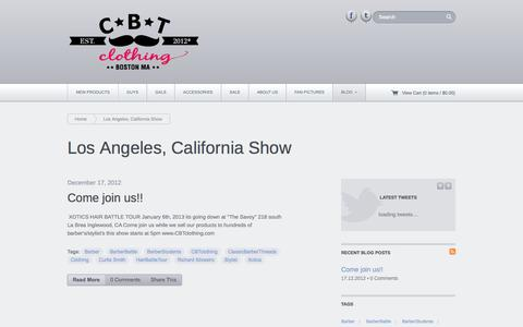 Screenshot of Blog cbtclothing.com - Los Angeles, California Show | CBT Clothing - captured Sept. 26, 2014