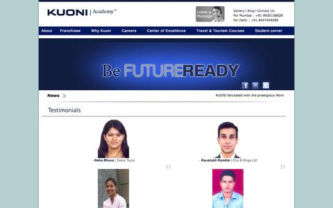 Screenshot of Testimonials Page kuoniacademy.co.in - Kuoni Academy - captured Oct. 6, 2014