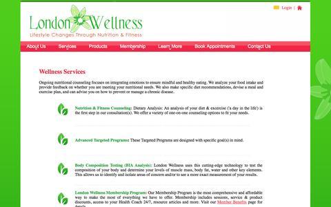Screenshot of Services Page londonwellness.net - Member Benefits - captured Oct. 1, 2014