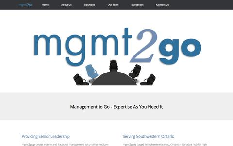 Screenshot of Home Page mgmt2go.ca - mgmt2go   mgmt2go – Expertise As You Need It - captured July 21, 2016