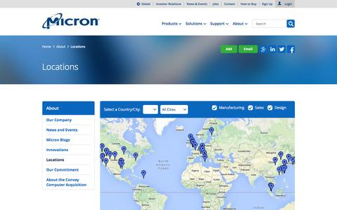 Screenshot of Locations Page micron.com - Micron Technology, Inc. - Locations - captured Dec. 2, 2015