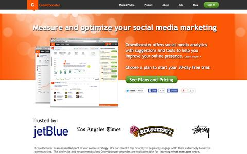 Screenshot of Home Page crowdbooster.com - Crowdbooster: Social Media Marketing Analytics and Optimization - captured Sept. 13, 2014