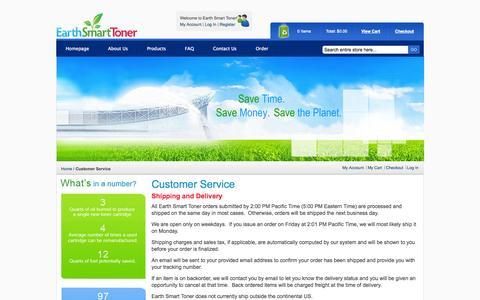 Screenshot of Support Page earthsmarttoner.com - Customer Service - captured Sept. 27, 2014