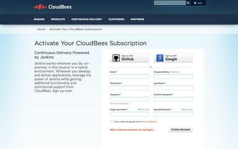 Screenshot of Signup Page cloudbees.com - Activate Your CloudBees Subscription | CloudBees - captured June 16, 2015
