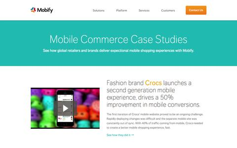 Screenshot of Case Studies Page mobify.com - Mobile Commerce Case Studies - captured Sept. 18, 2014