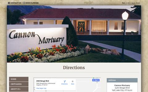 Screenshot of Maps & Directions Page cannonmortuary.com - Cannon Mortuary | Salt Lake City UT funeral home and cremation - captured July 15, 2018