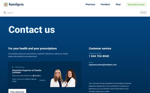 Screenshot of Contact Page familiprix.com - Contact us – Familiprix - captured Aug. 12, 2018