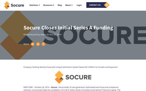 Screenshot of Press Page socure.com - Socure Closes Initial Series A Funding - captured Oct. 18, 2019